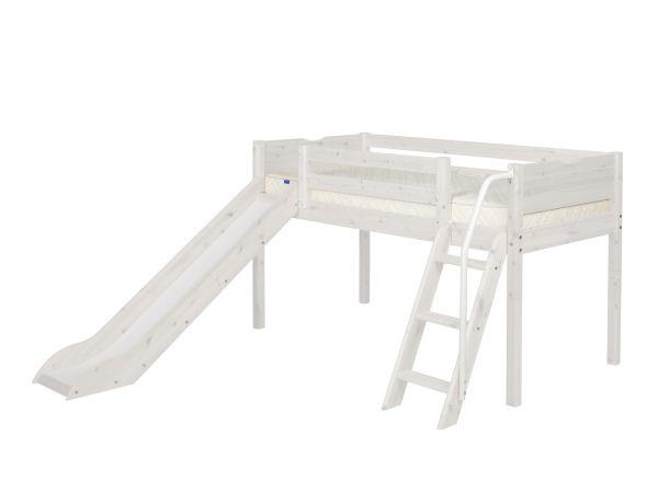 Flexa Halfhoogslaper Met Glijbaan White Wash.Flexa Kinderbed Classic Halfhoog Met Schuine Ladder En Glijbaan