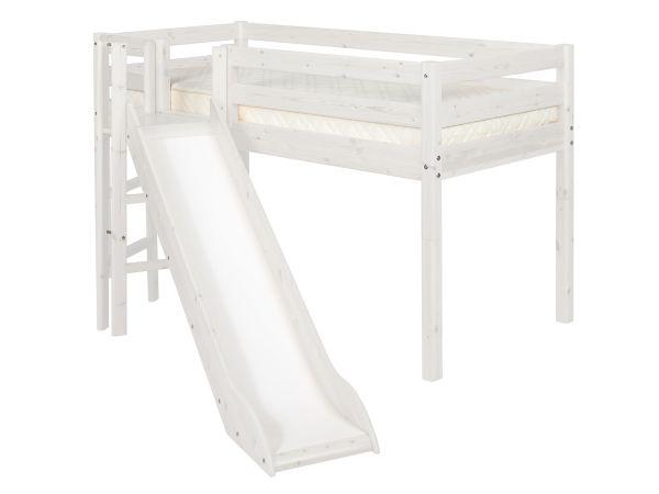 Flexa Halfhoogslaper Met Glijbaan White Wash.Flexa Bed Classic Halfhoog Met Platform En Glijbaan White Wash